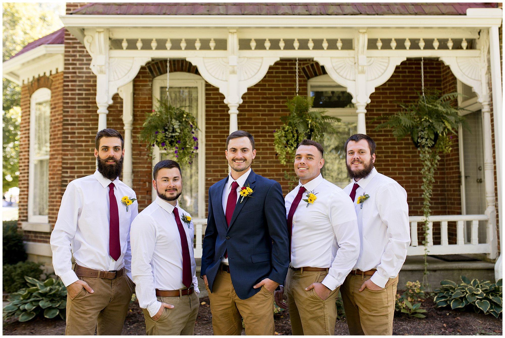 groom and groomsmen before wedding at Legacy Barn in Kokomo Indiana