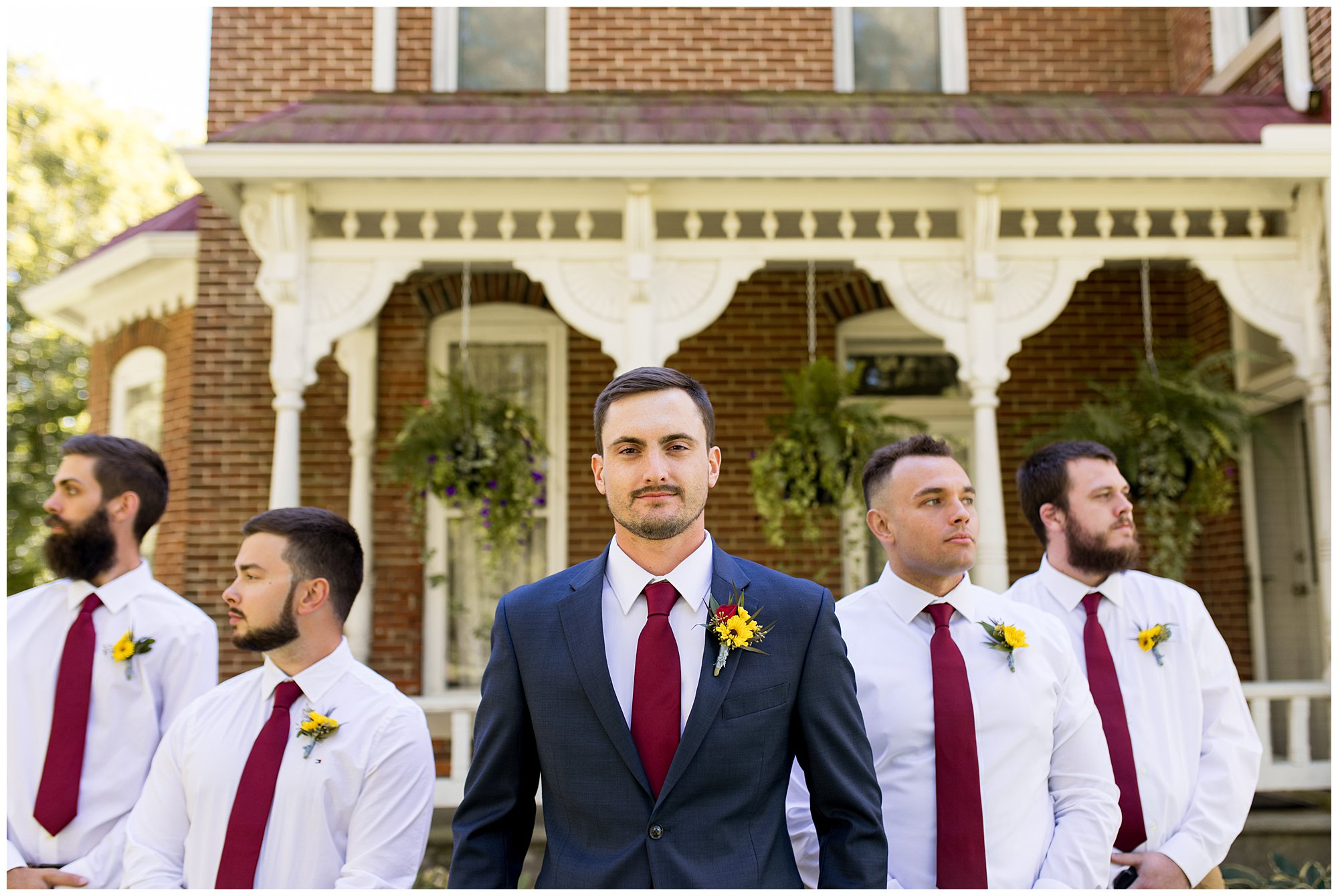 groom and groomsmen photos before Kokomo Legacy Barn wedding