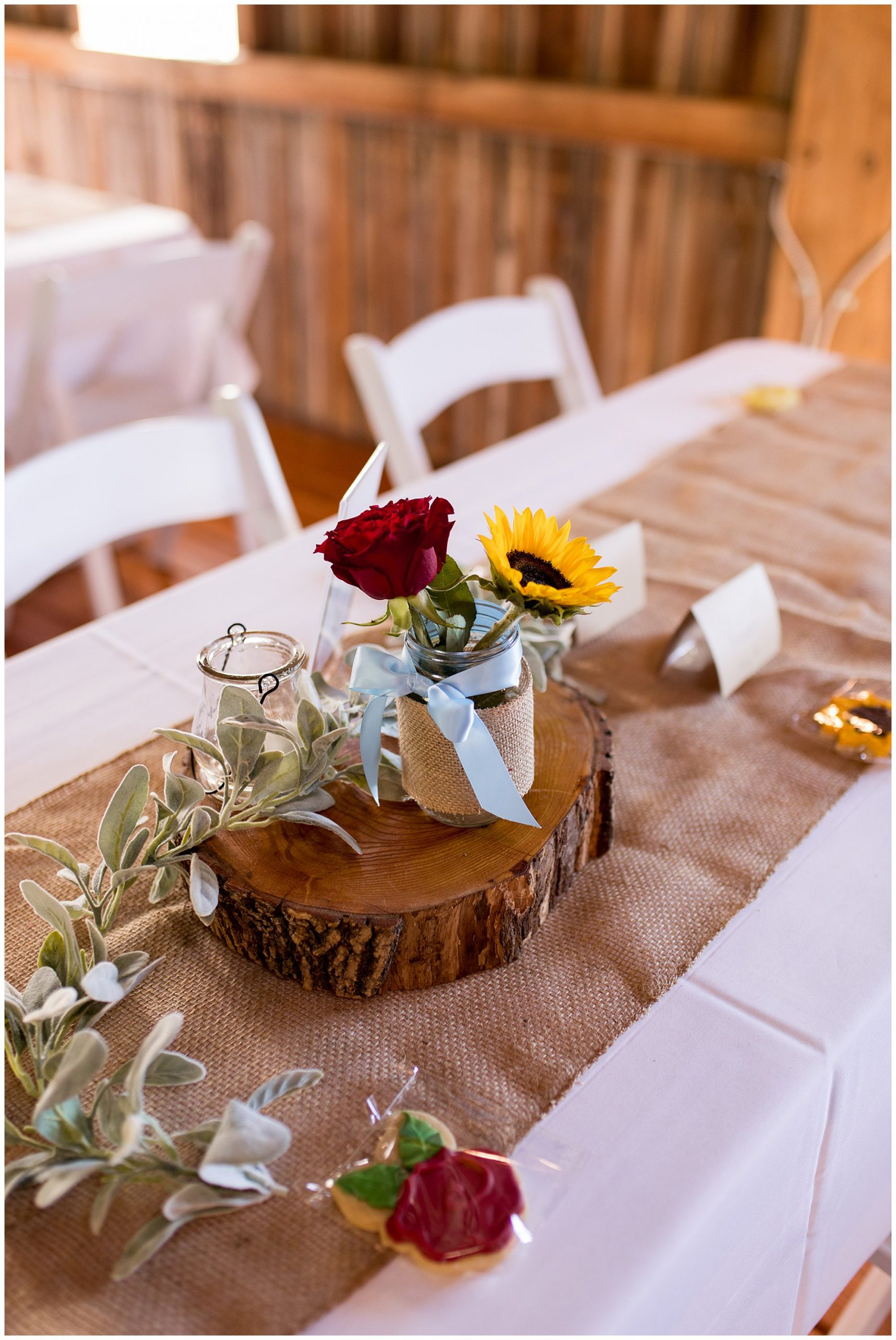 Legacy Barn wedding reception decor in Kokomo Indiana