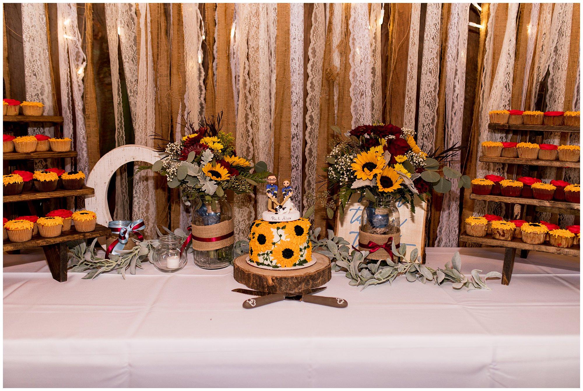 Legacy Barn wedding reception cake table in Kokomo Indiana