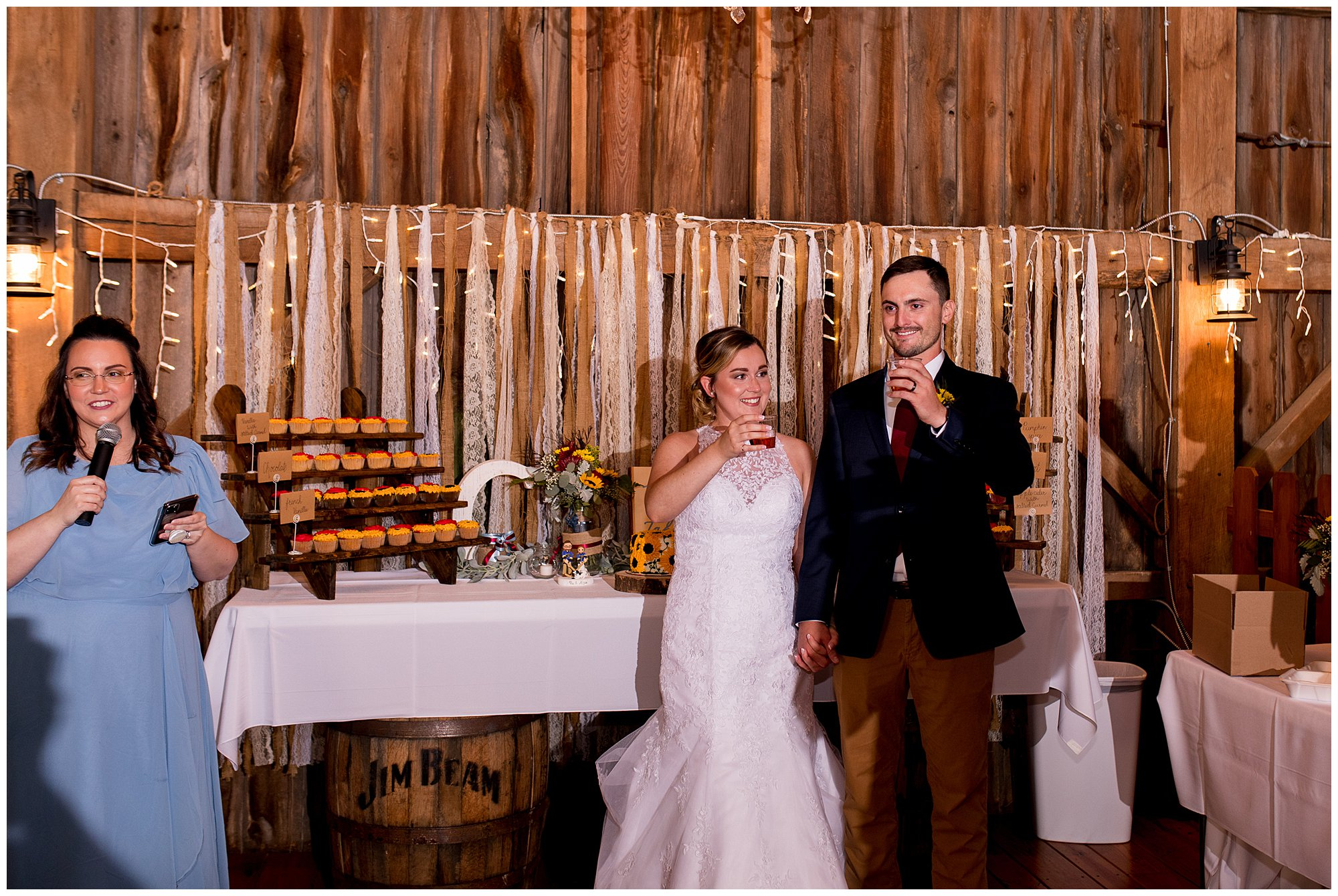 matron of honor gives toast to couple at Legacy Barn wedding venue in Kokomo Indiana