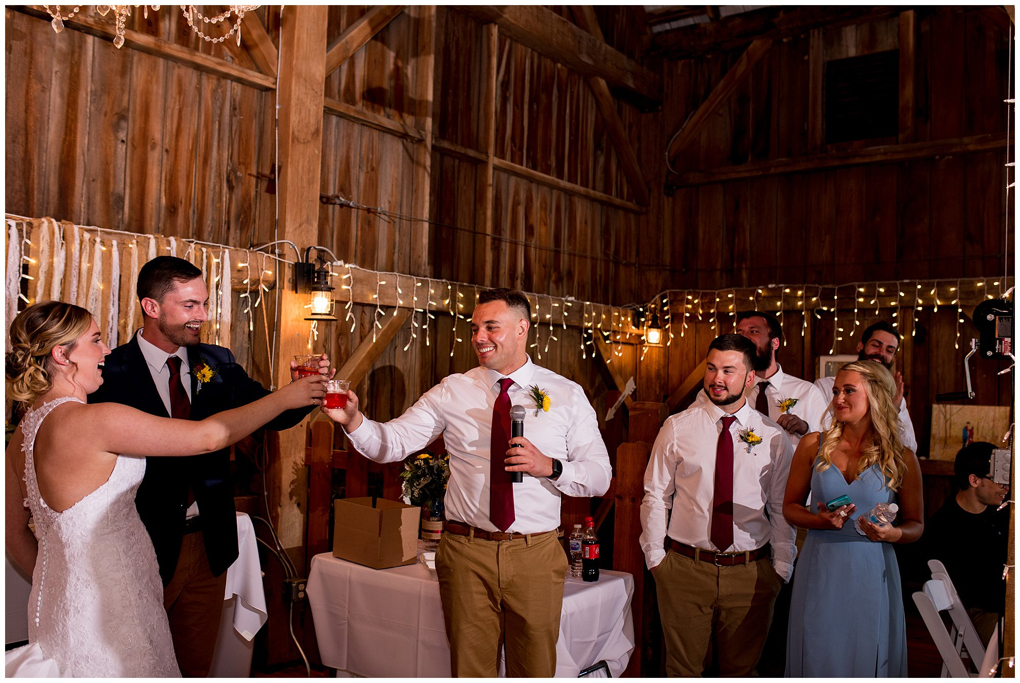 best man gives toast to couple at Legacy Barn wedding venue in Kokomo Indiana