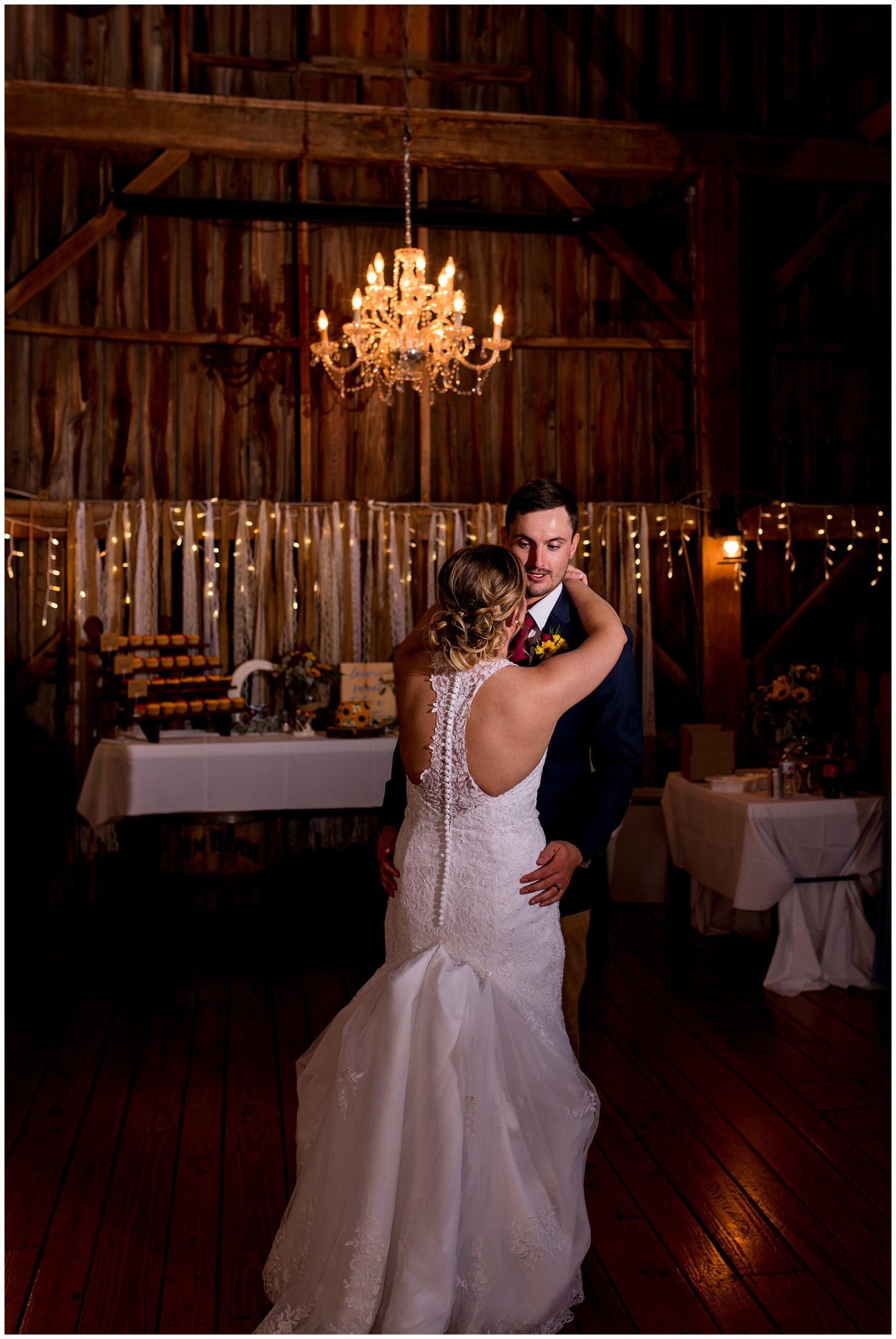 bride and groom first dance at Legacy Barn wedding reception in Kokomo Indiana