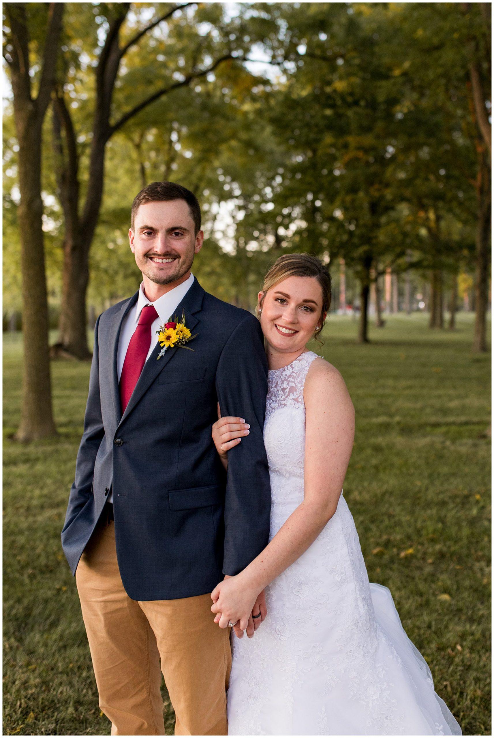 bride and groom wedding photos at sunset at Legacy Barn in Kokomo Indiana