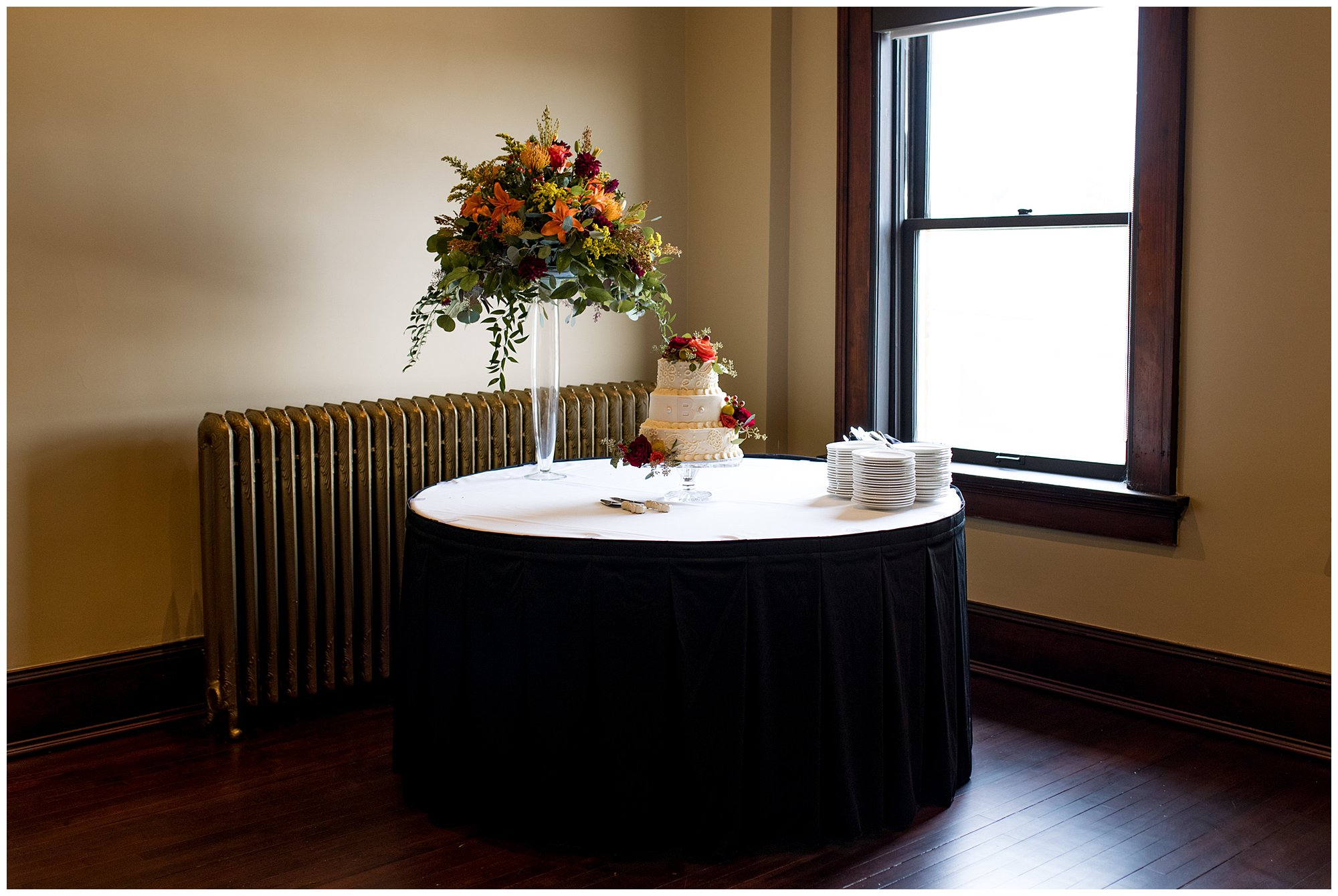 cake setup in Parkview Ballroom at Eagles Theatre in Wabash