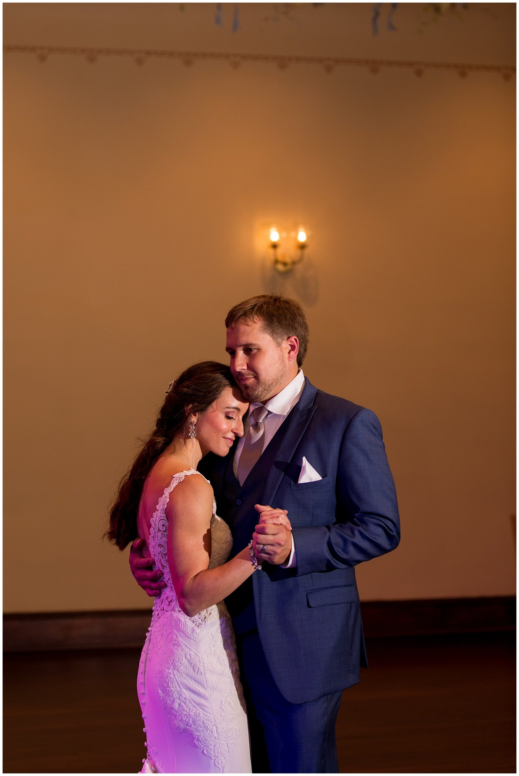 bride and groom first dance in Parkview Ballroom at Eagles Theatre wedding reception