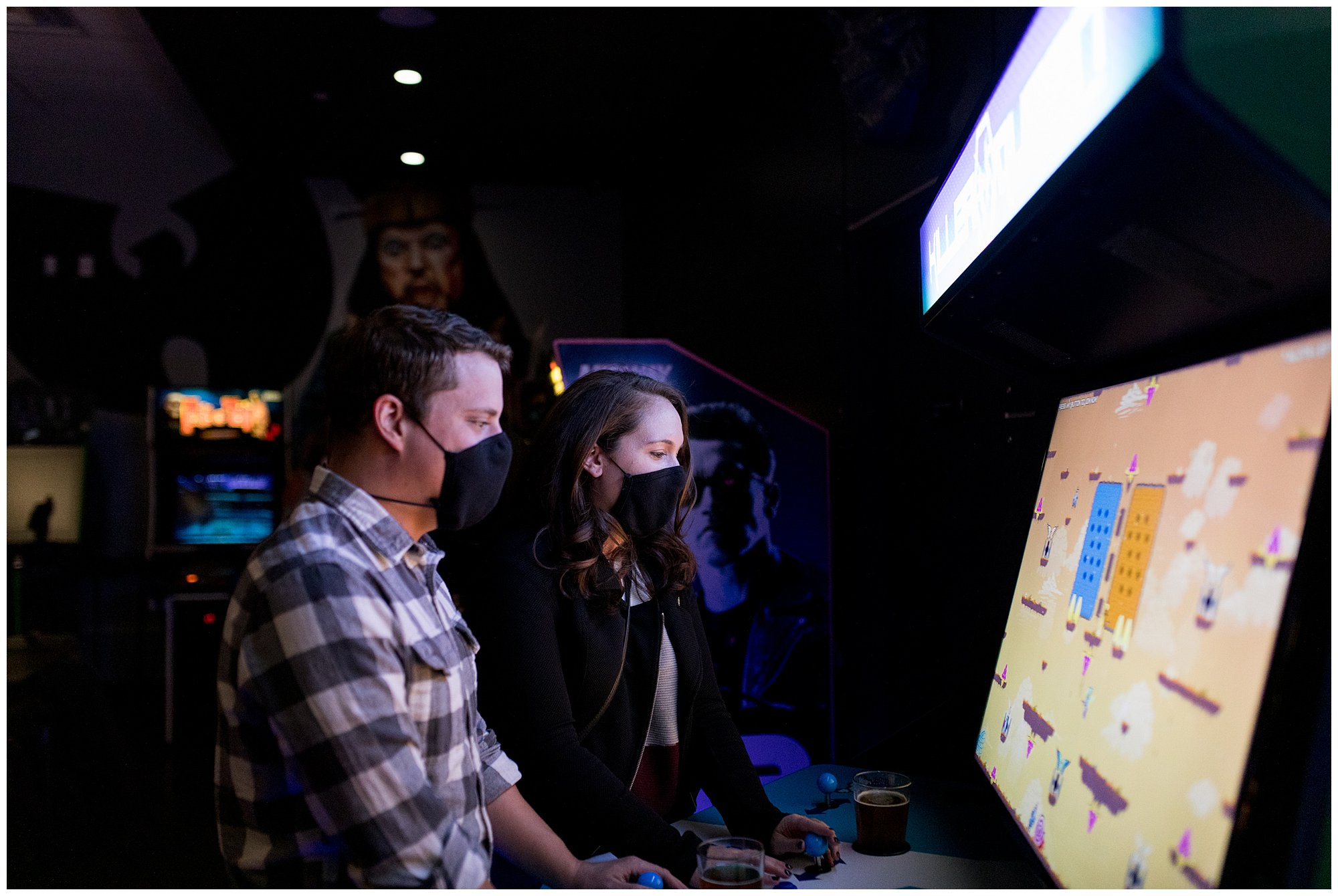 couple plays games at Tappers Arcade Bar in Indianapolis