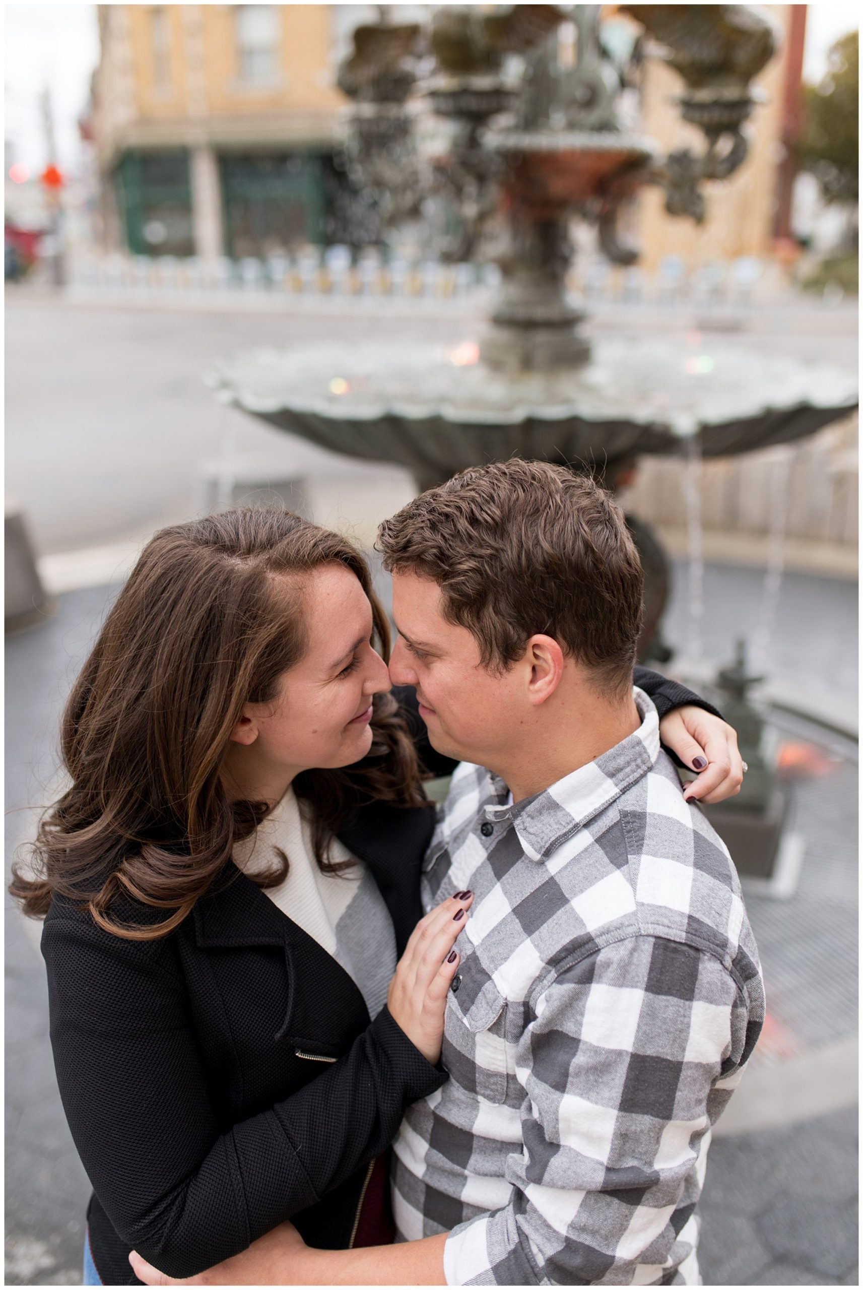 Indianapolis engagement session at Fountain Square