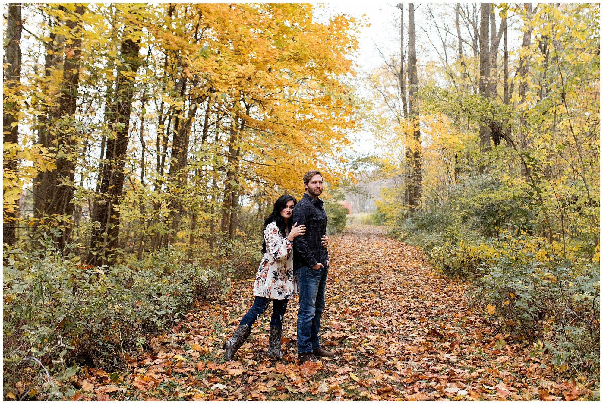 fall engagement session at Jackson Morrow Park in Kokomo