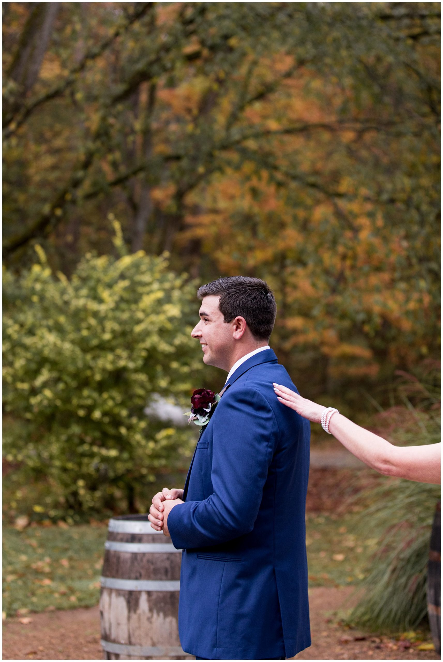 first look with groom before wedding ceremony at Story Inn in Nashville, Indiana