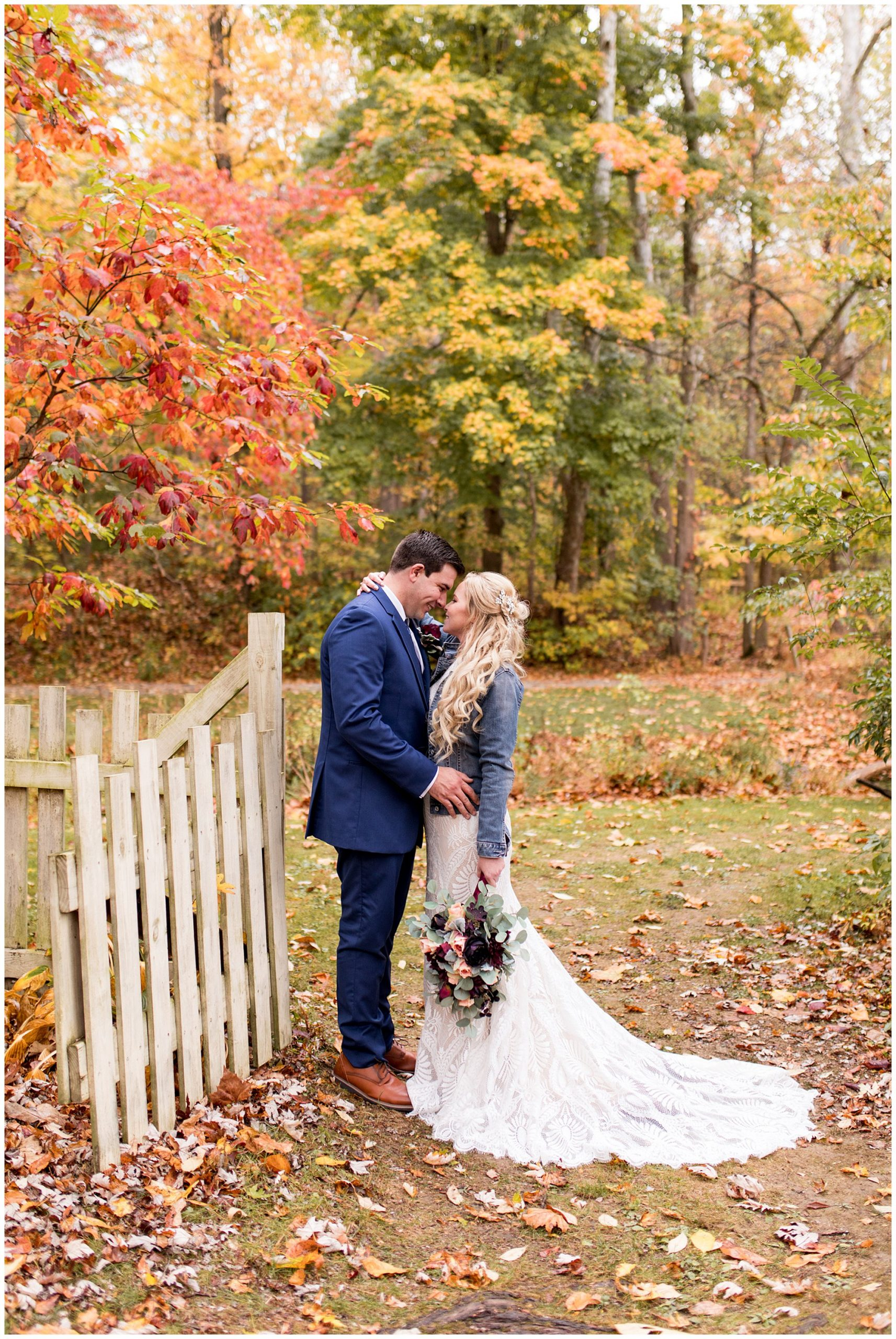 bride and groom wedding photos during fall Brown County elopement