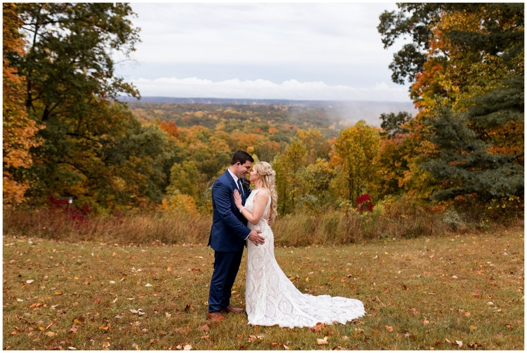 bride and groom at Brown County State Park in the fall
