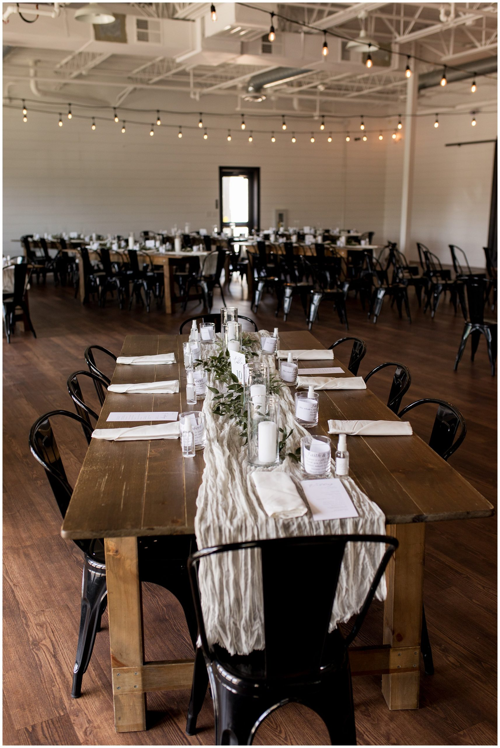 wedding reception table decor at BASH wedding in Carmel