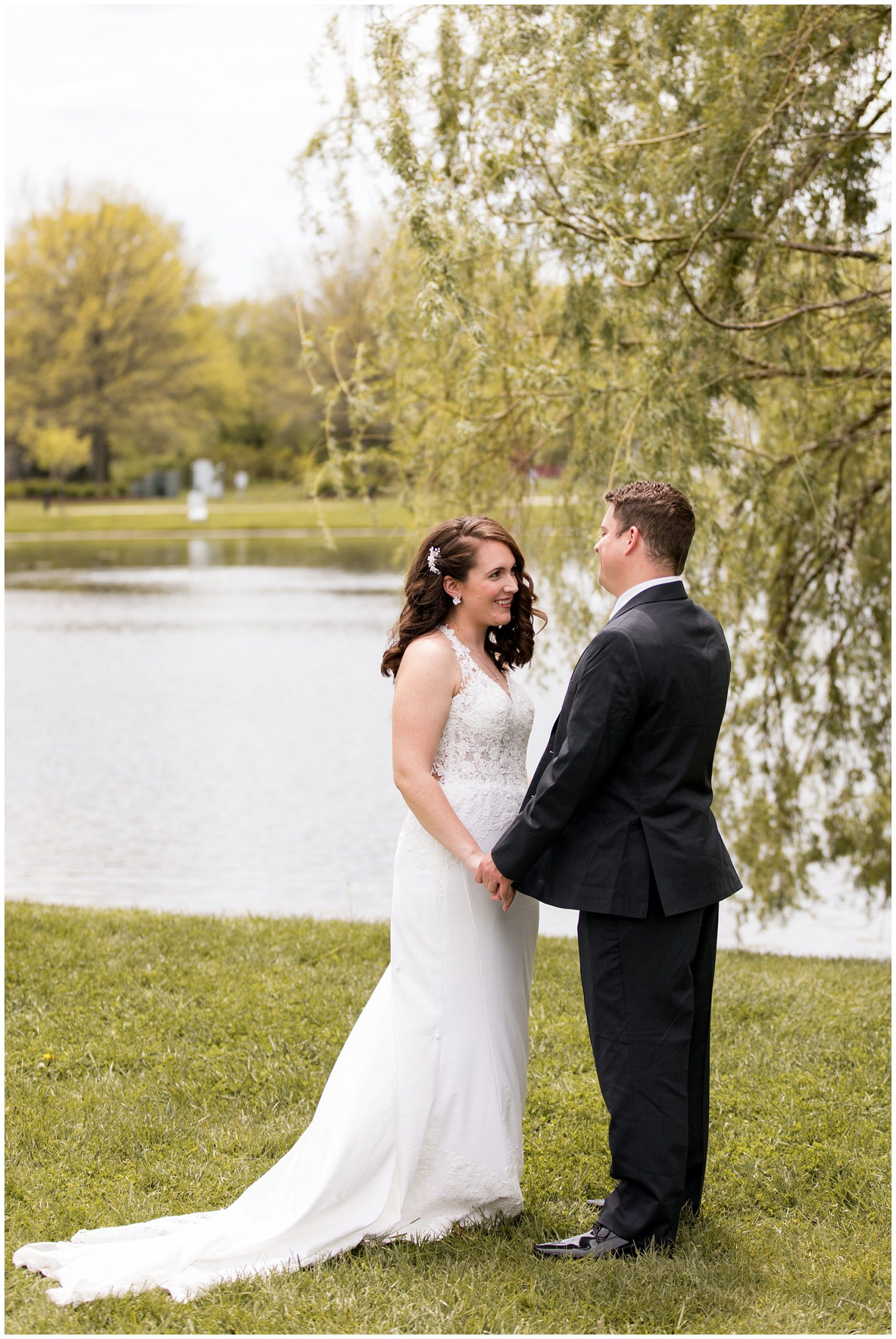 wedding couple first look at Coxhall Gardens in Carmel Indiana