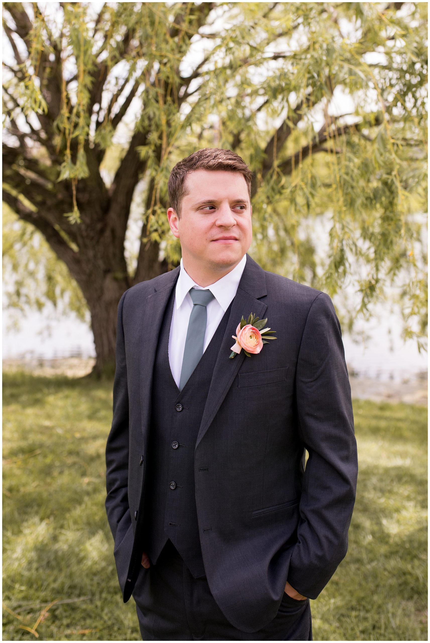groom portraits at Coxhall Gardens in Carmel