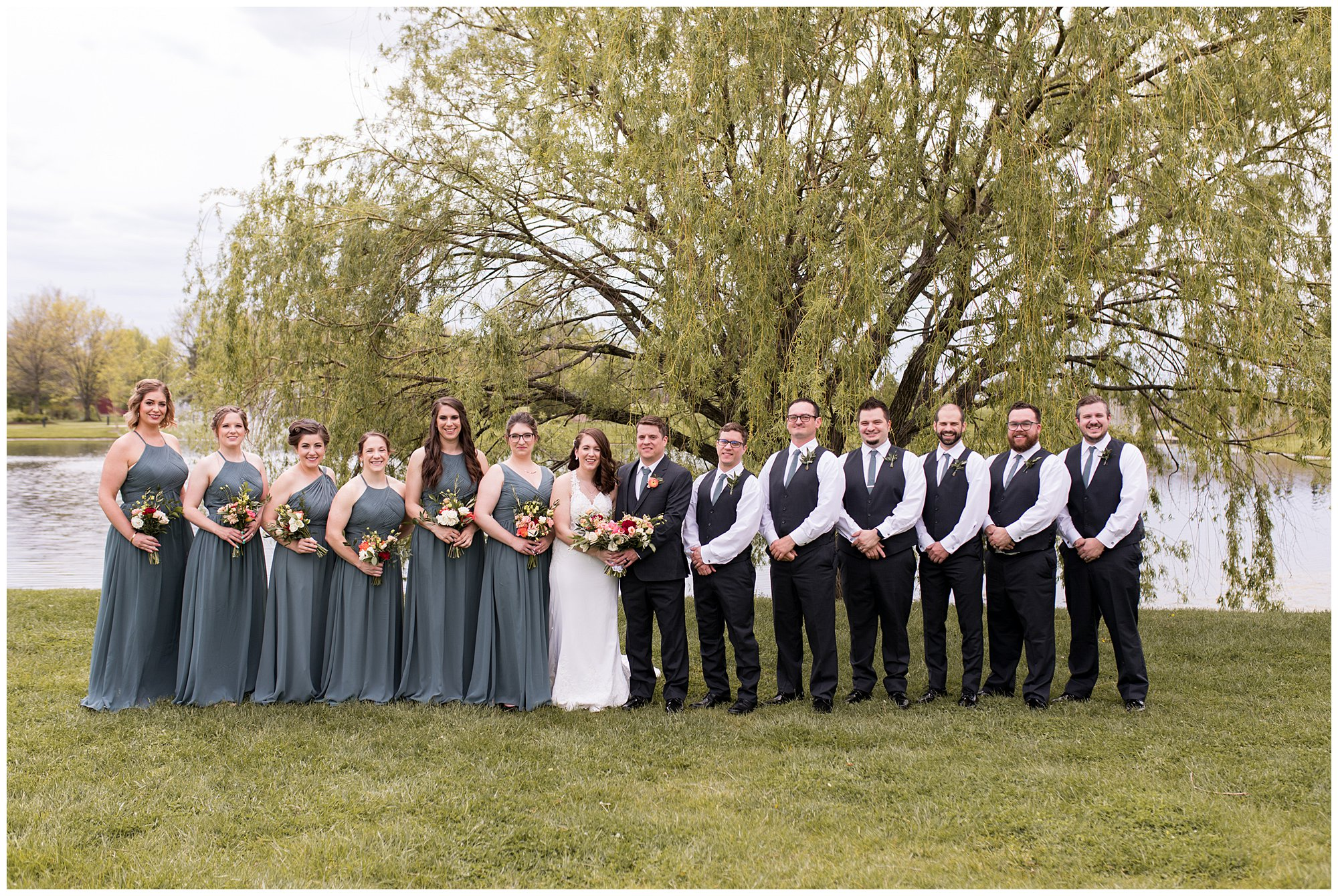 wedding party photos at Coxhall Gardens in Carmel