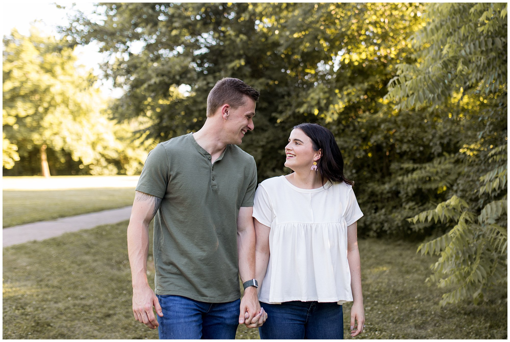 summer engagement at Potter's Bridge Park in Noblesville Indiana