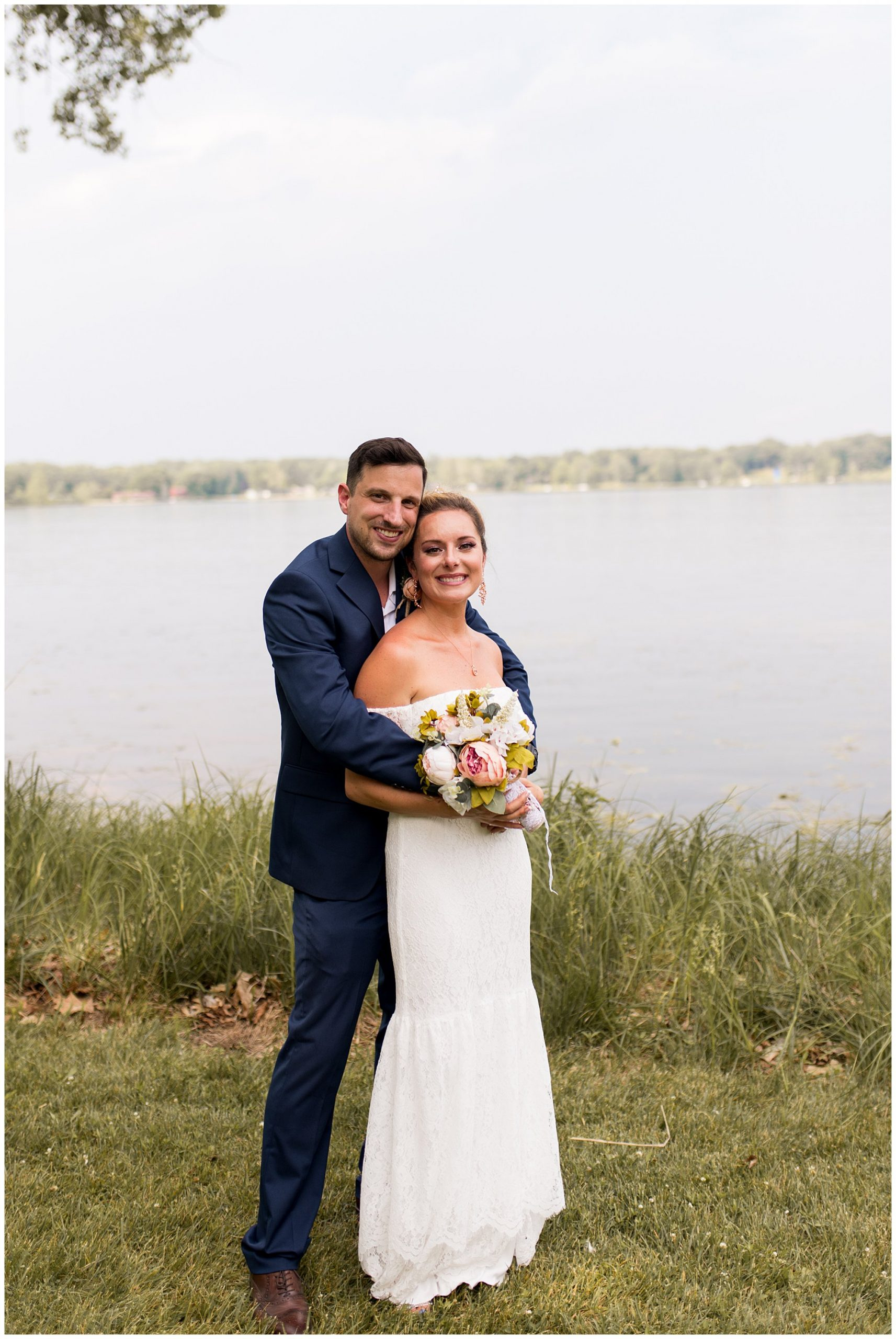 bride and groom after summer wedding at Lucerne Park in Warsaw, Indiana