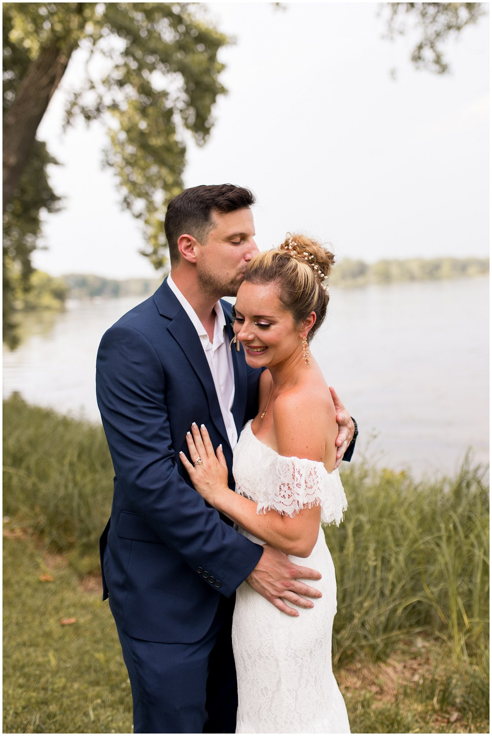 bride and groom after summer wedding at Lucerne Park in Warsaw Indiana