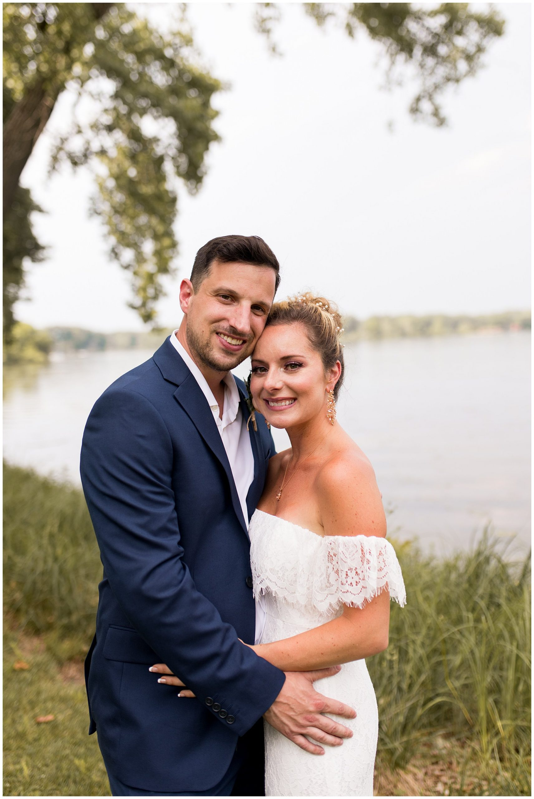 bride and groom after summer wedding in Warsaw Indiana