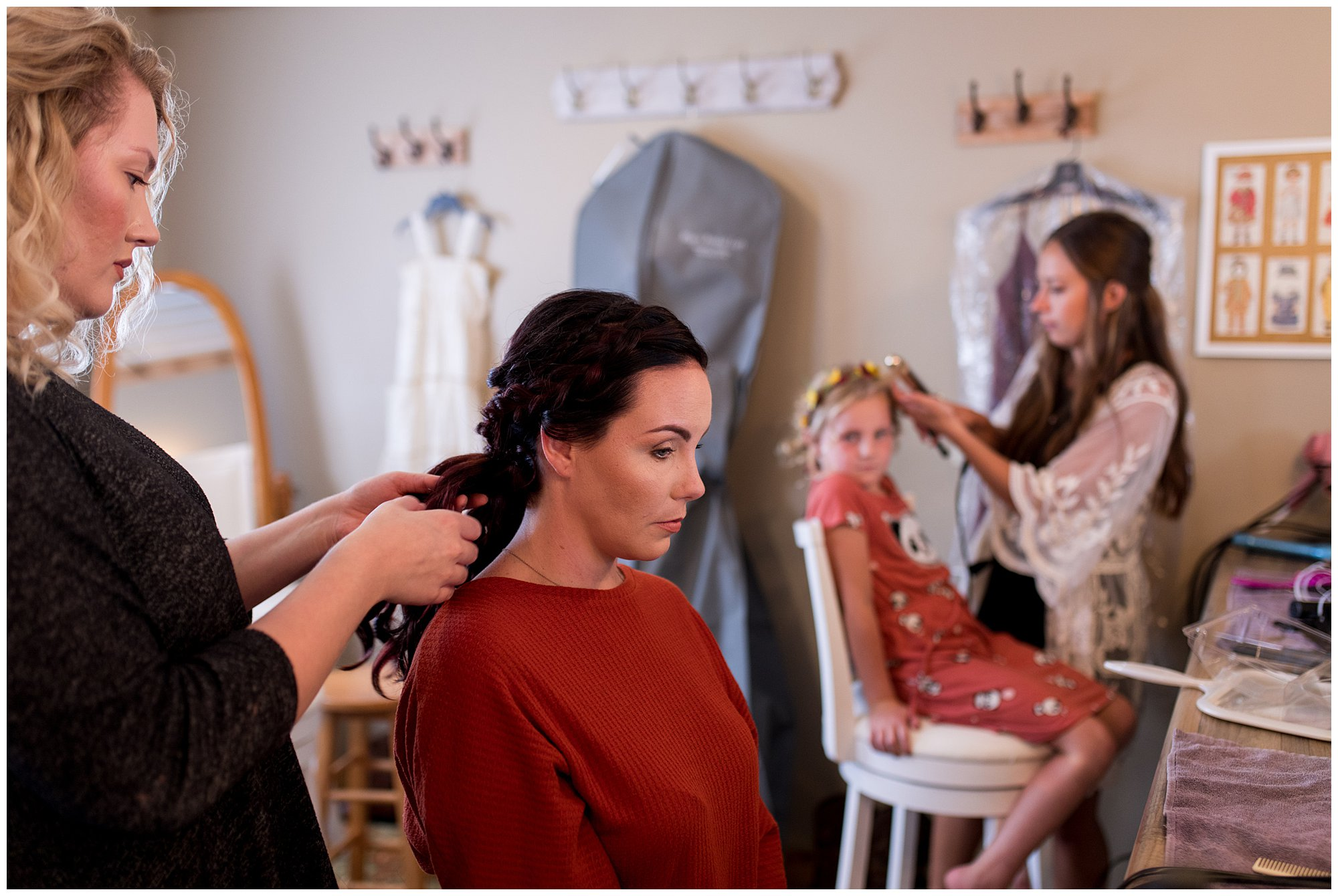 bride gets ready before wedding ceremony at Legacy Barn