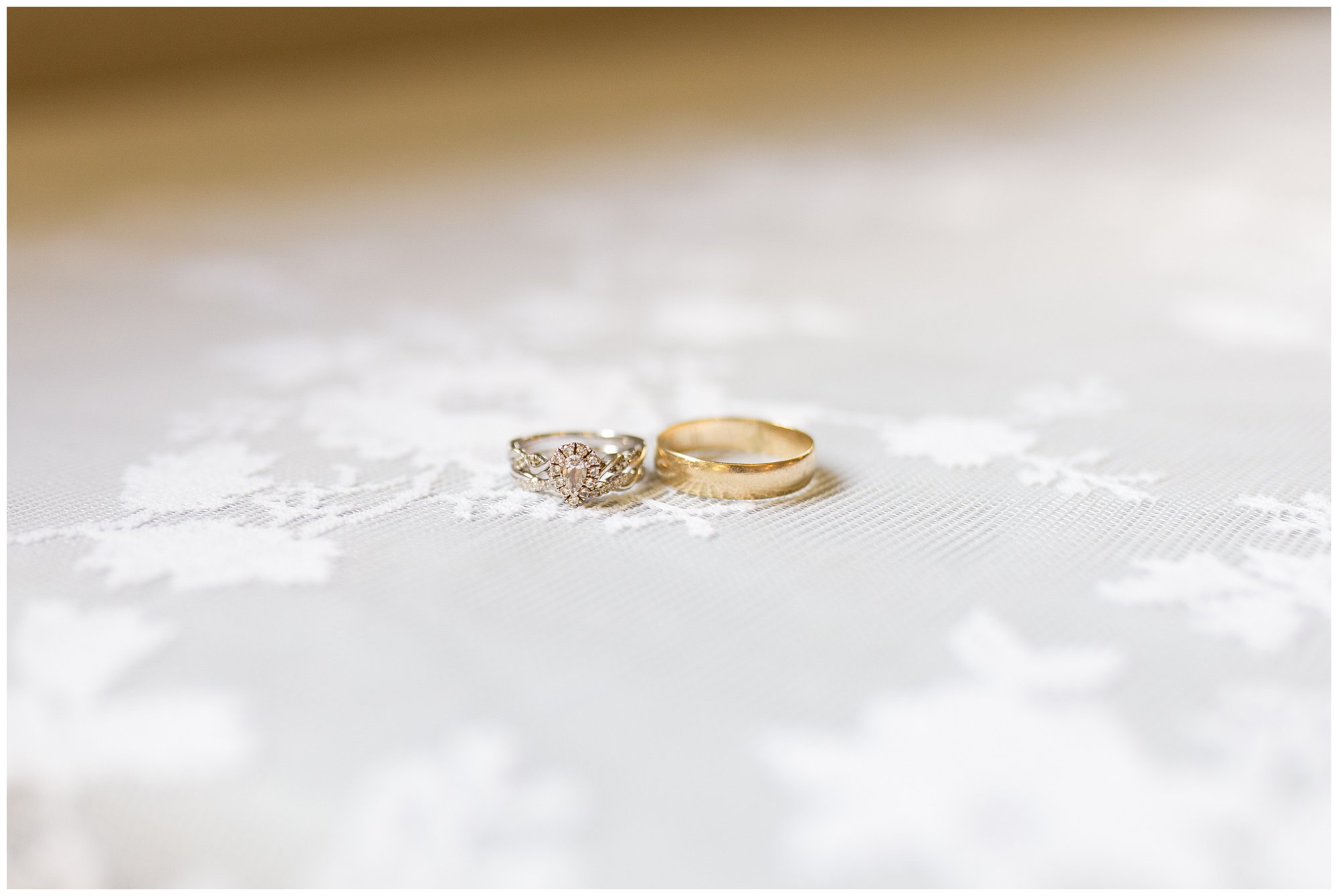 bride and groom's rings from Palmer's Jewelry in Kokomo