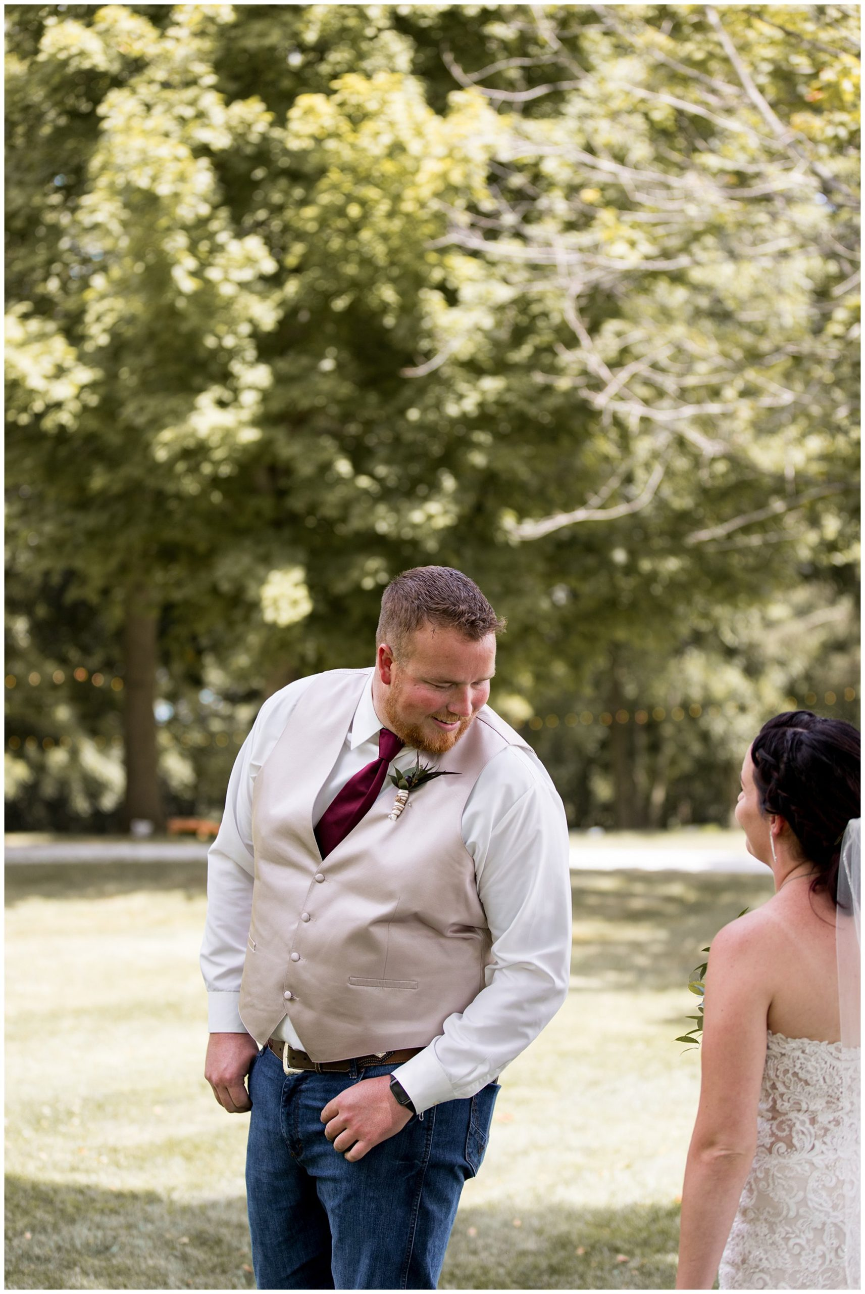 groom sees bride after first look