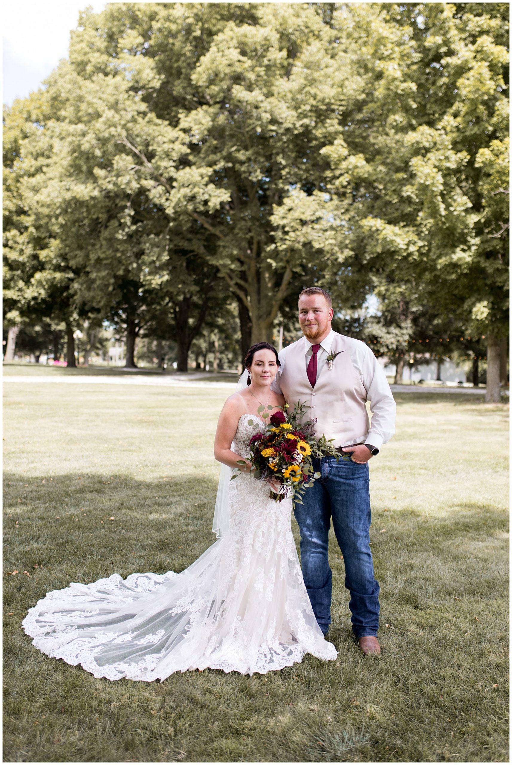 bride and groom at Legacy Barn in Kokomo