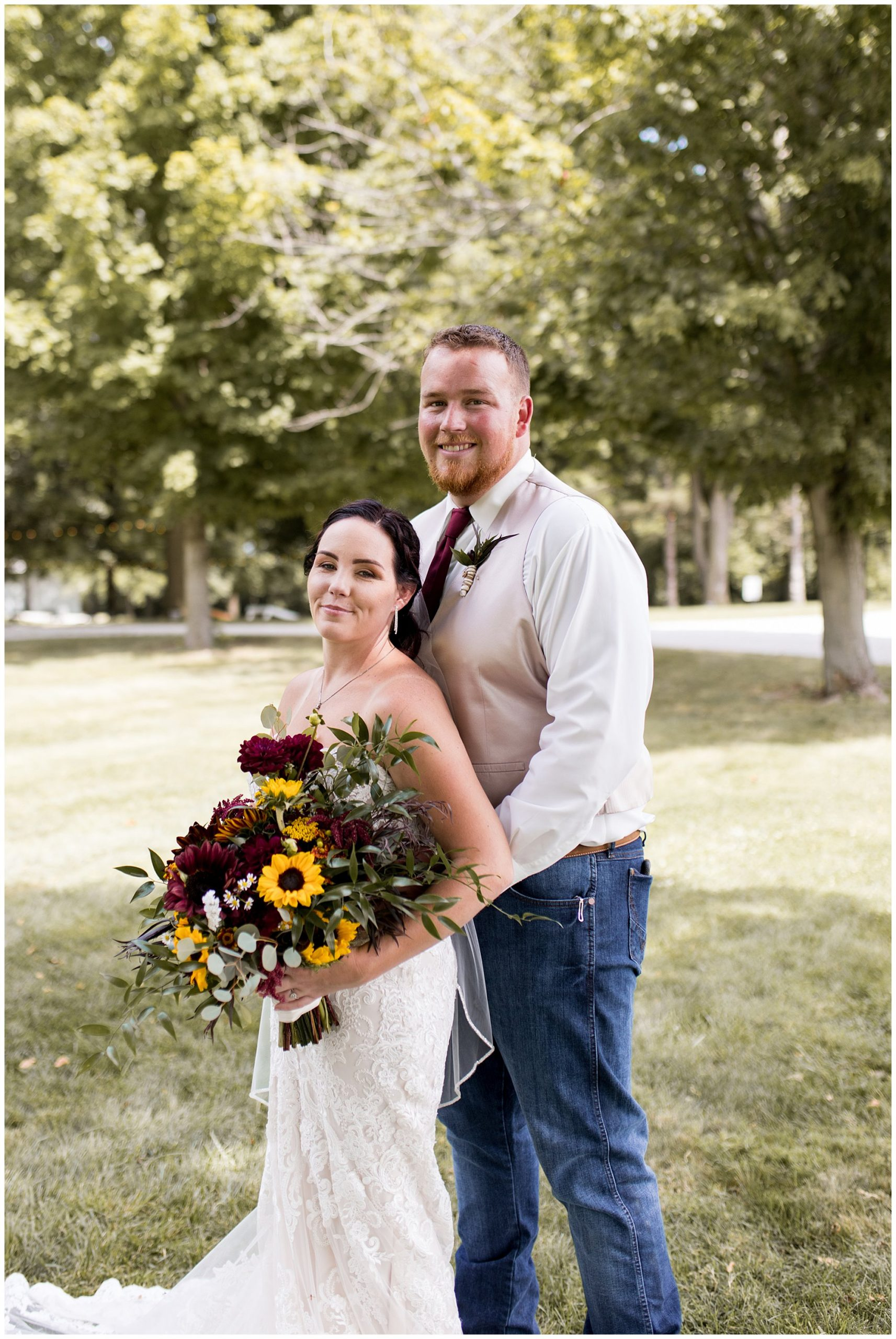bride and groom portraits before summer wedding at Legacy Barn
