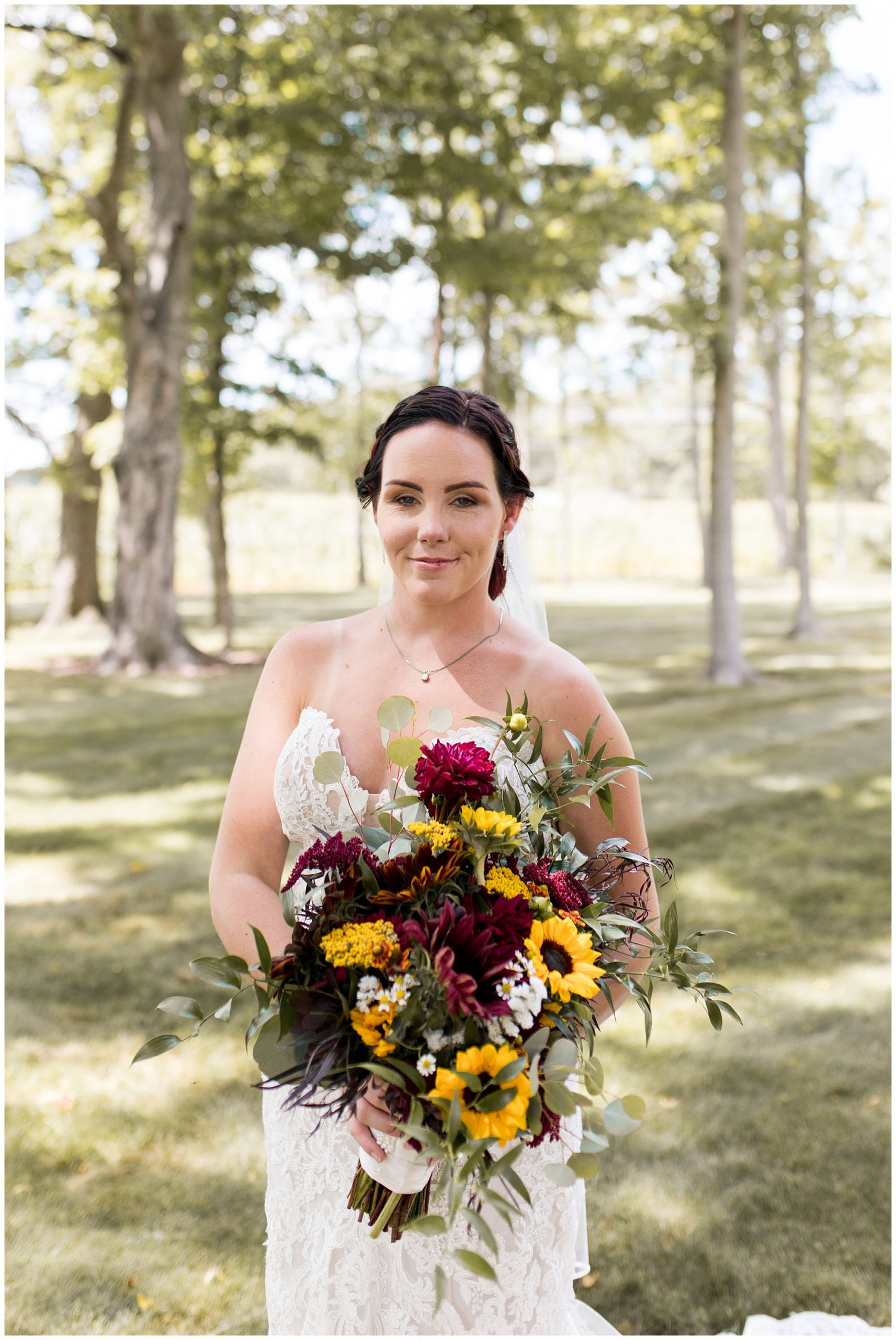 bride with flowers from Shoup's Country Foods
