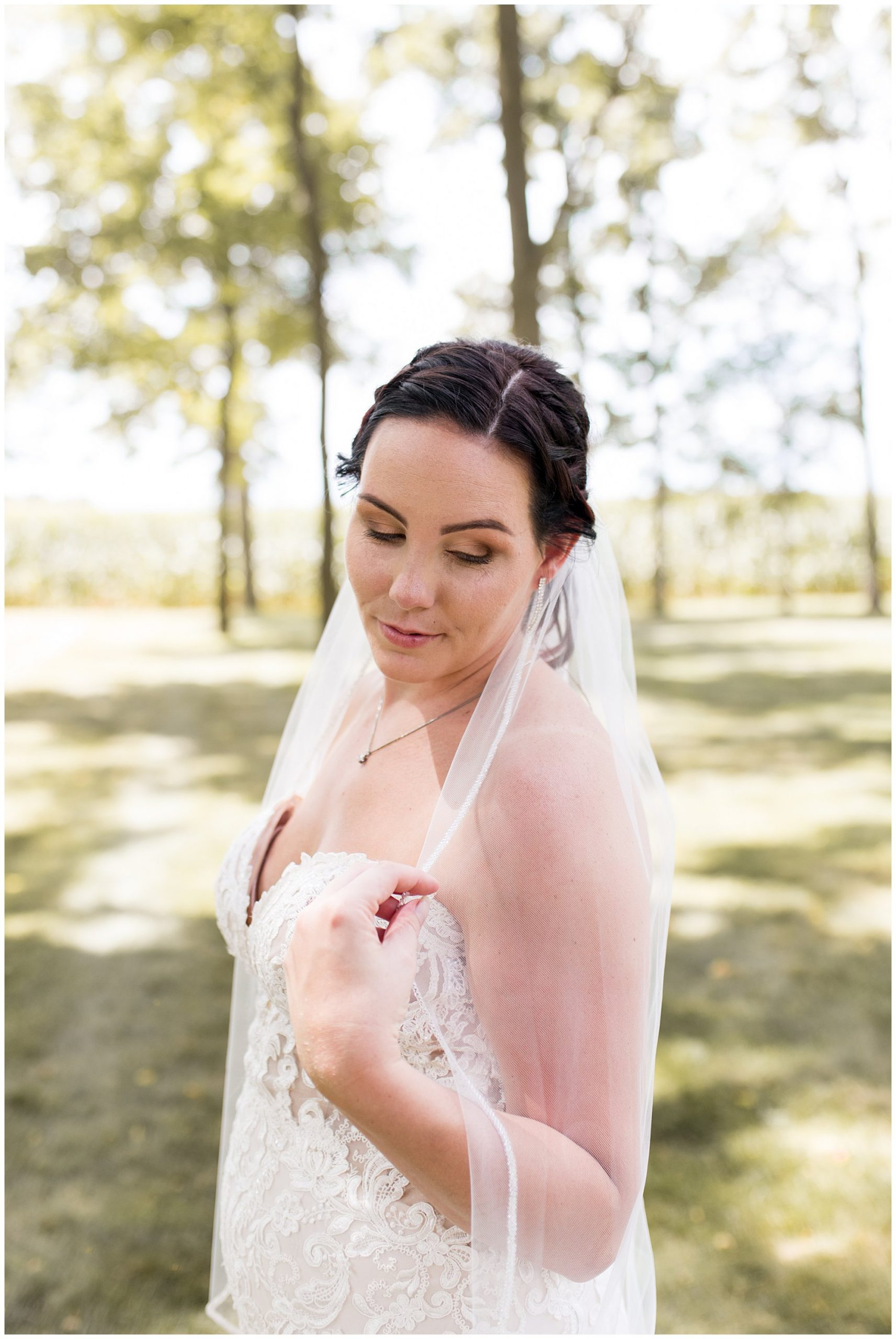 bride before summer wedding at Legacy Barn