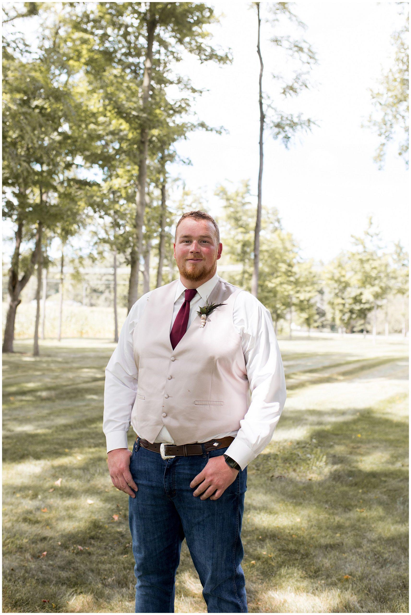 groom before summer wedding at Legacy Barn