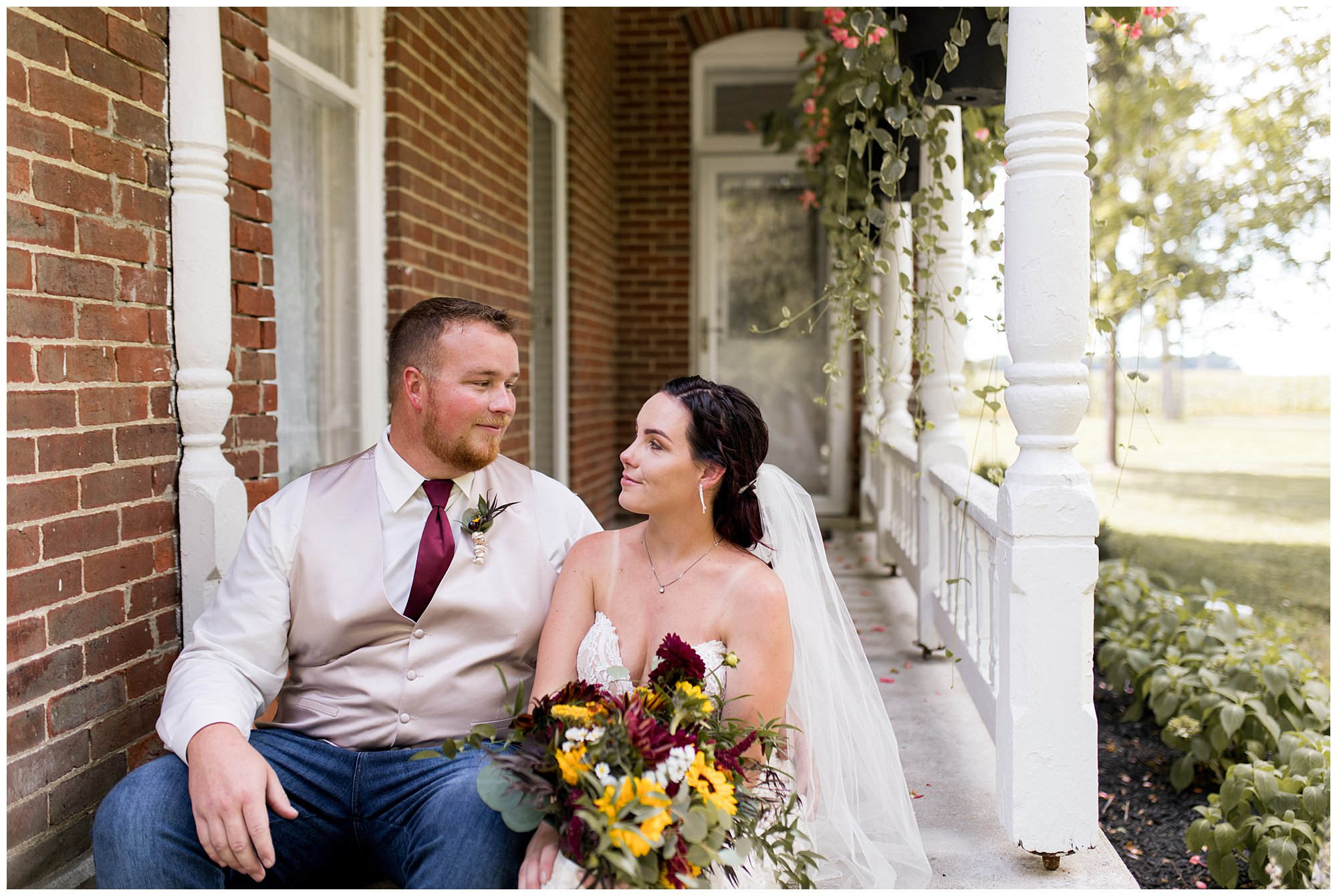 Bride and groom at Legacy Barn before wedding ceremony