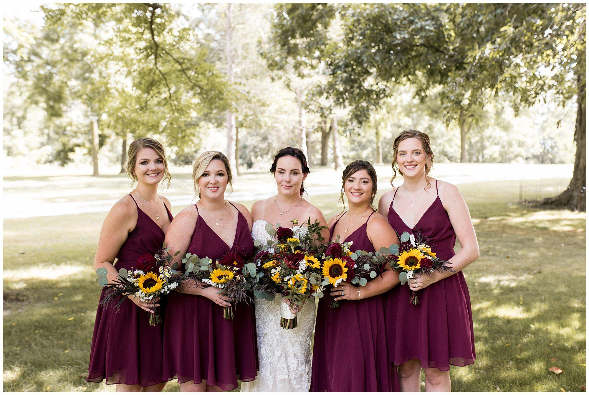 bride and bridesmaids before wedding ceremony