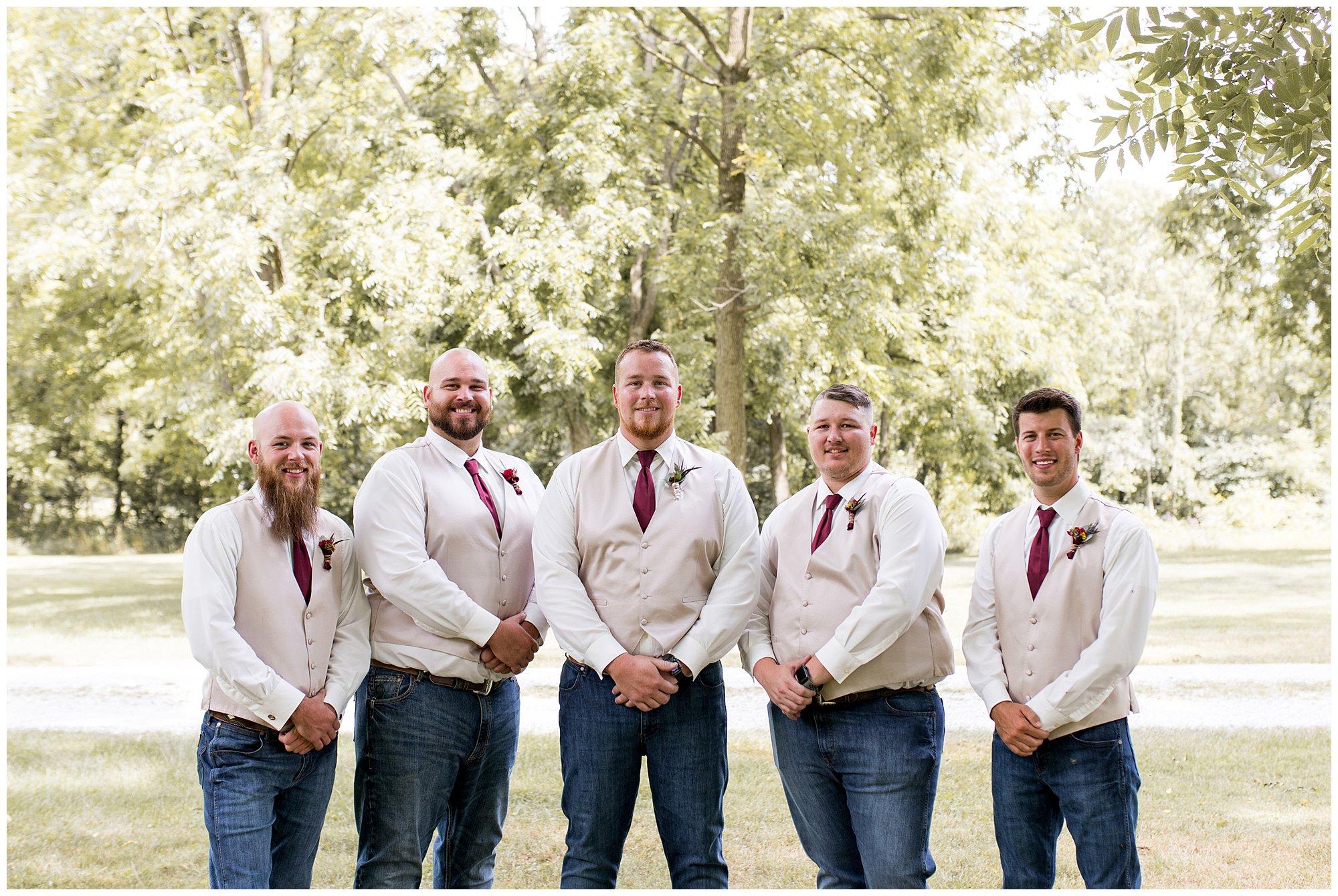groom and groomsmen before summer wedding at Legacy Barn