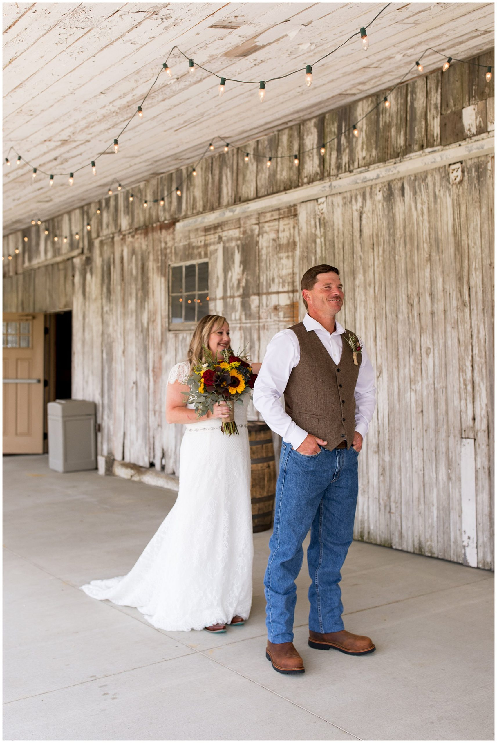 bride and groom first look at Barn on Boundary