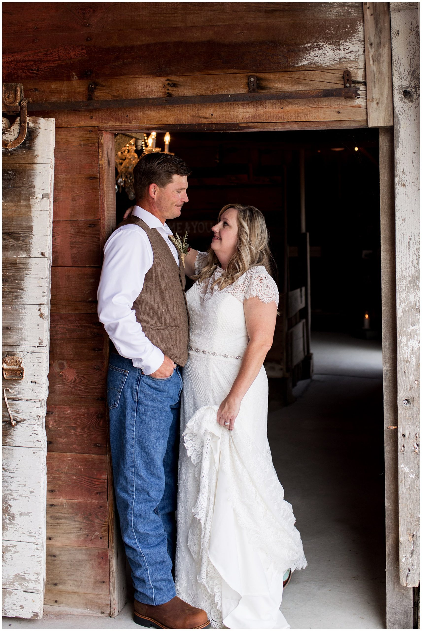 bride and groom before rustic wedding at Barn on Boundary
