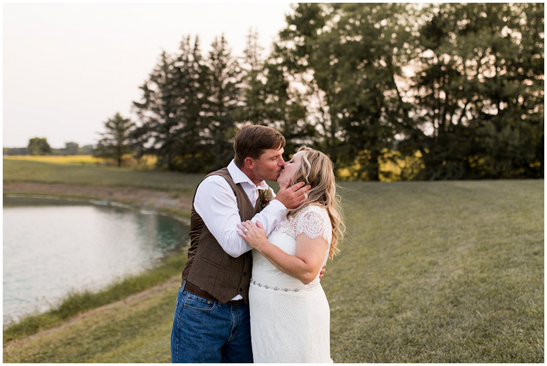 bride and groom kissing after wedding at Barn on Boundary in Eaton, Indiana