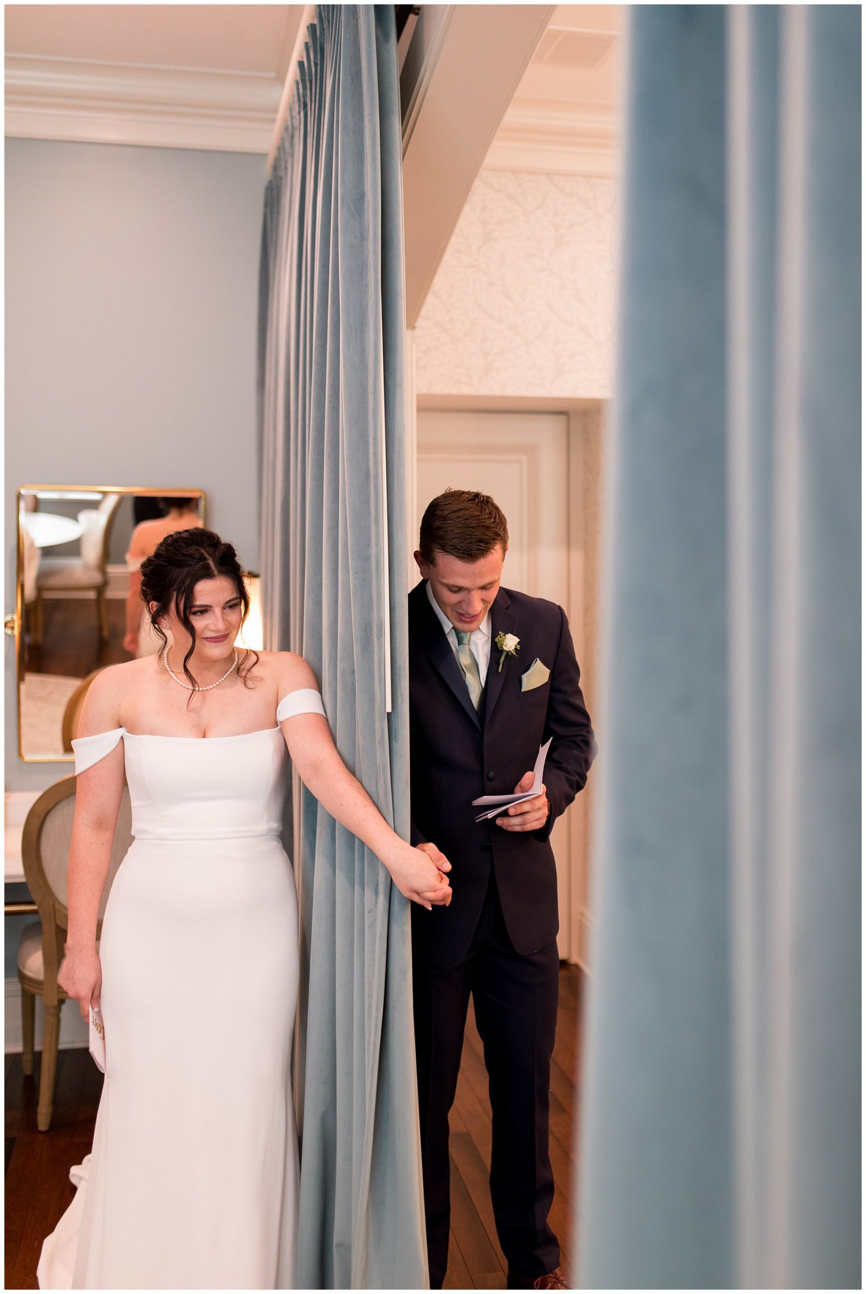 groom reads letter to bride before The Hobson wedding ceremony