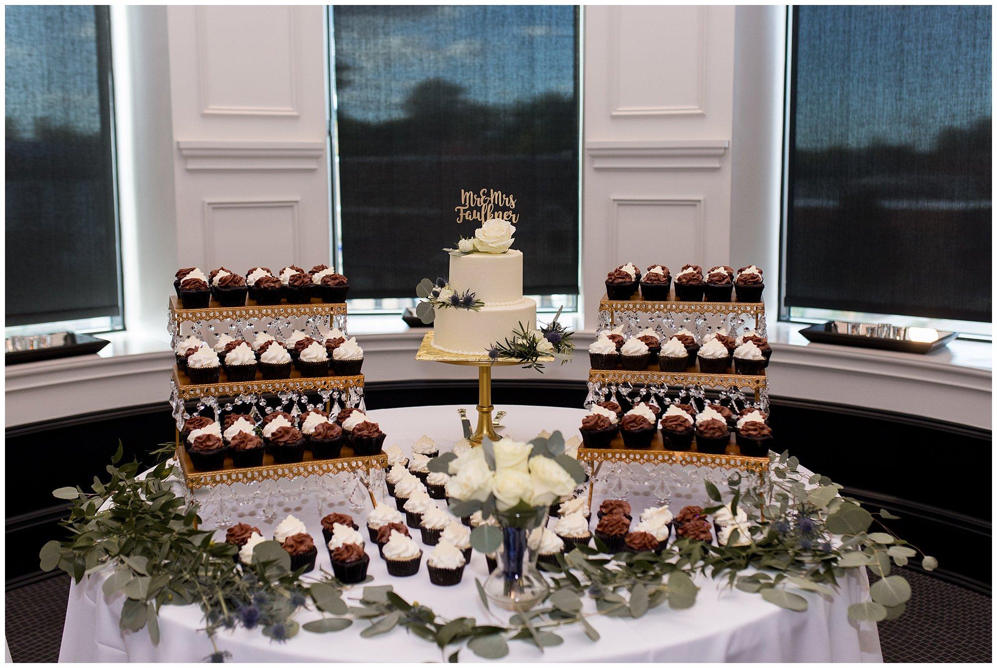 wedding cake and cupcakes at The Hobson Kokomo from J. Edwards Gourmet