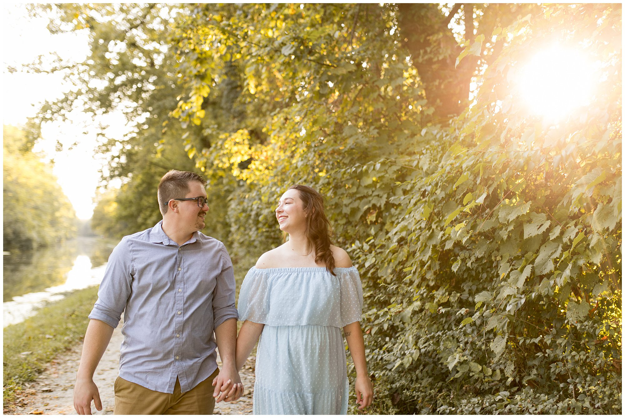 sunset engagement session at Holcomb Gardens